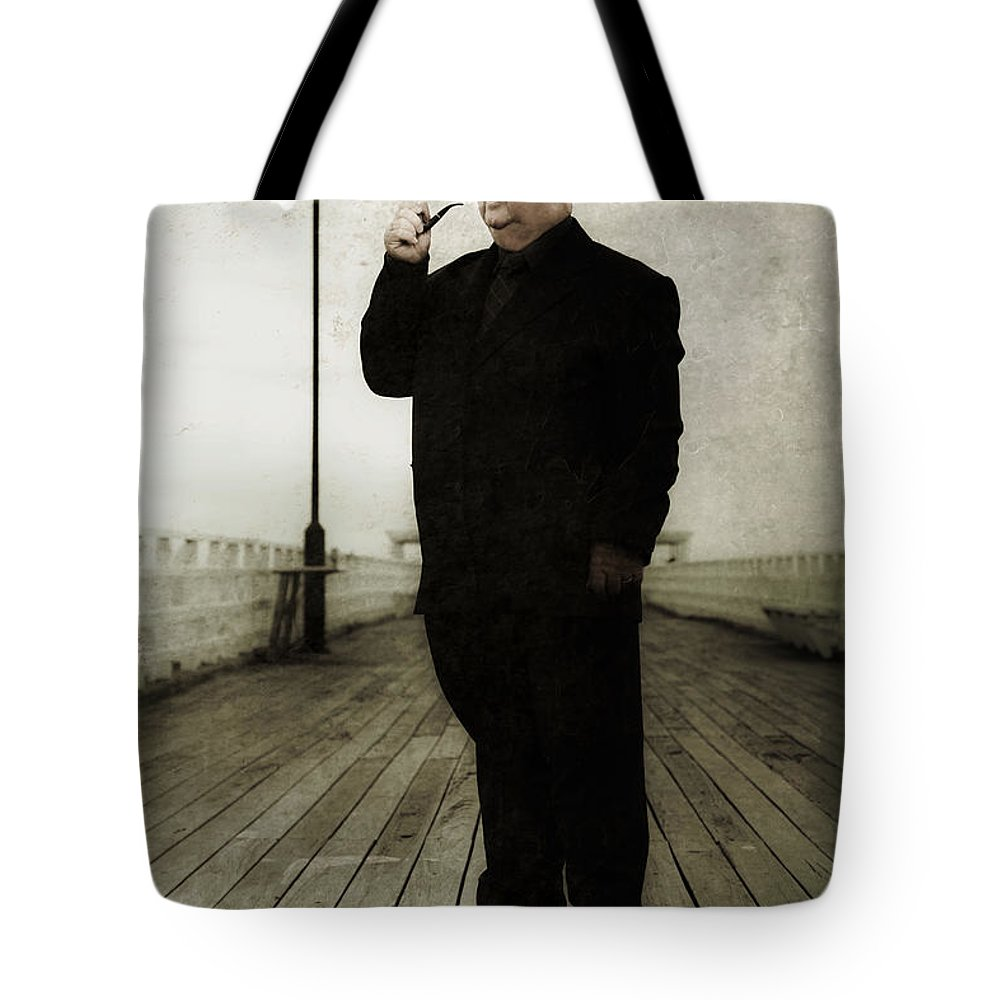 Art Tote Bag featuring the photograph 50s Detective Smoking Pipe by Jorgo Photography - Wall Art Gallery