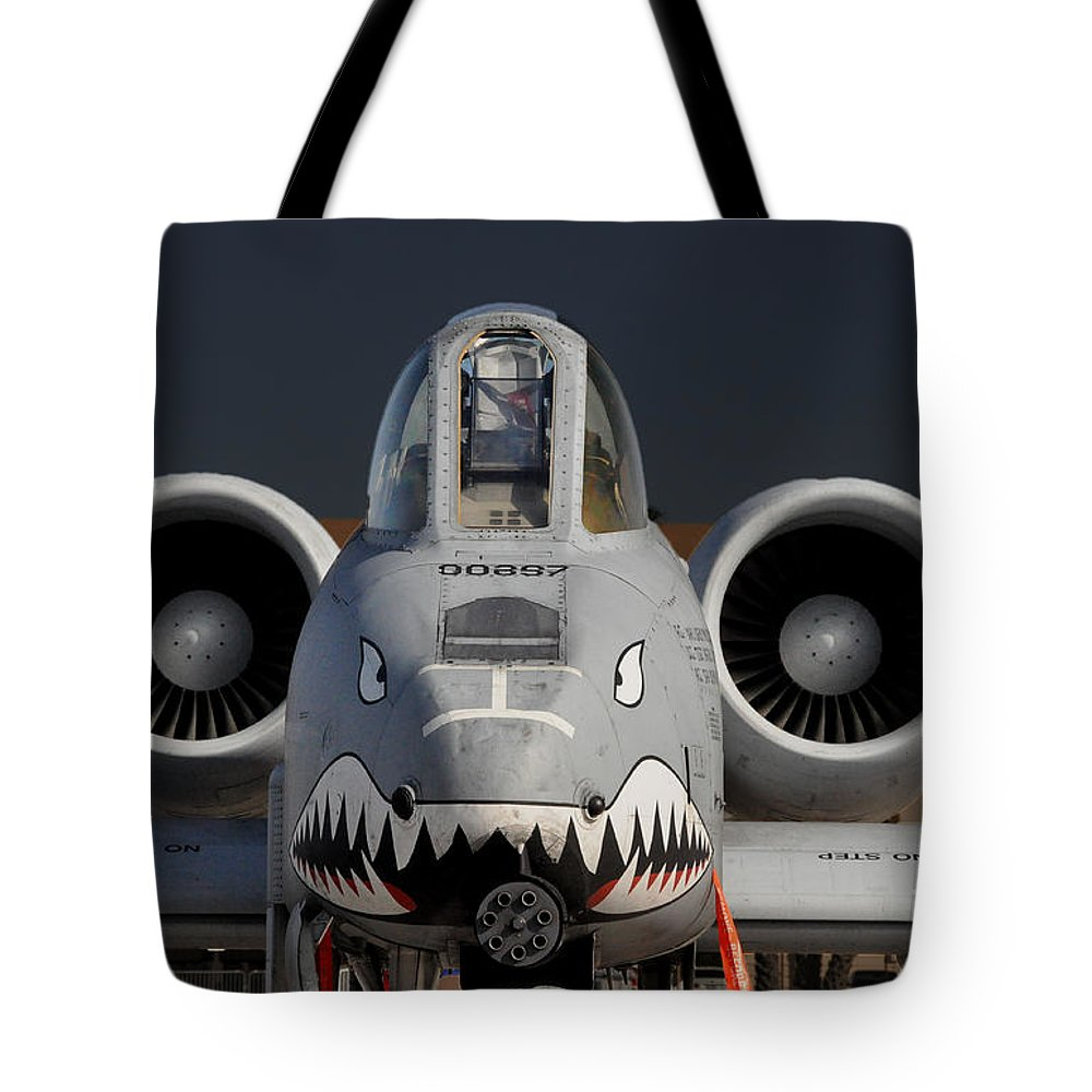 Aircraft Tote Bag featuring the photograph A-10 Warthog by John Black