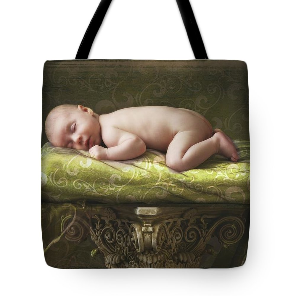 Bare Tote Bag featuring the photograph A Baby Asleep On A Pillar by Pete Stec