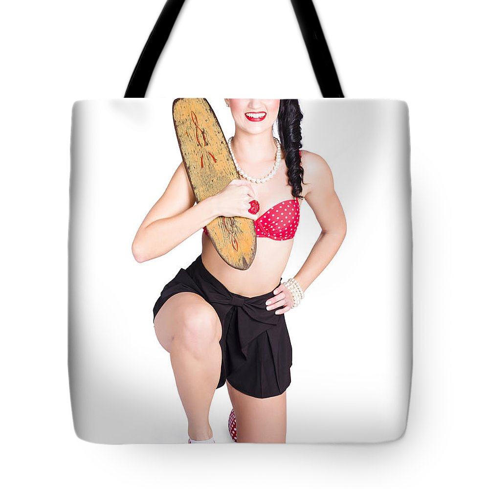 Accessories Tote Bag featuring the photograph A Pin Up Girl Holding A Little Wooden Skateboard by Jorgo Photography - Wall Art Gallery