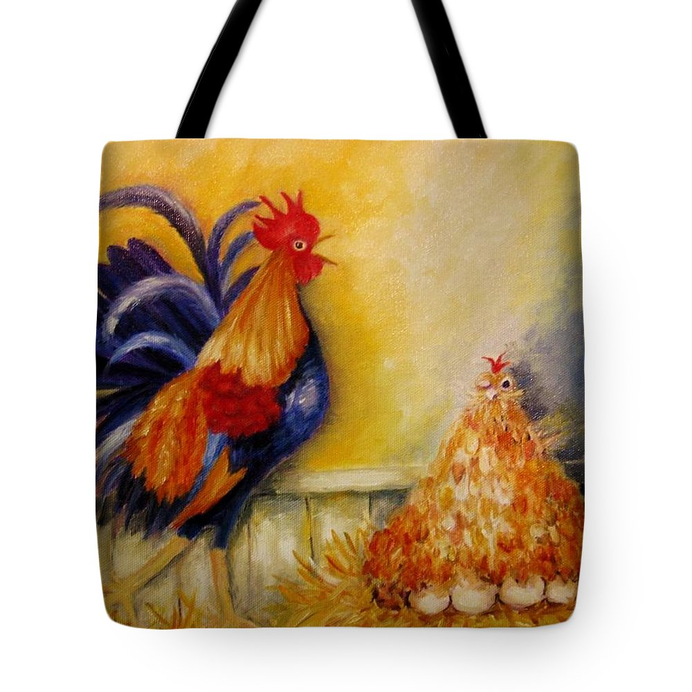 Rooster Tote Bag featuring the painting A Rude Awakening by Mimi Saint DAgneaux