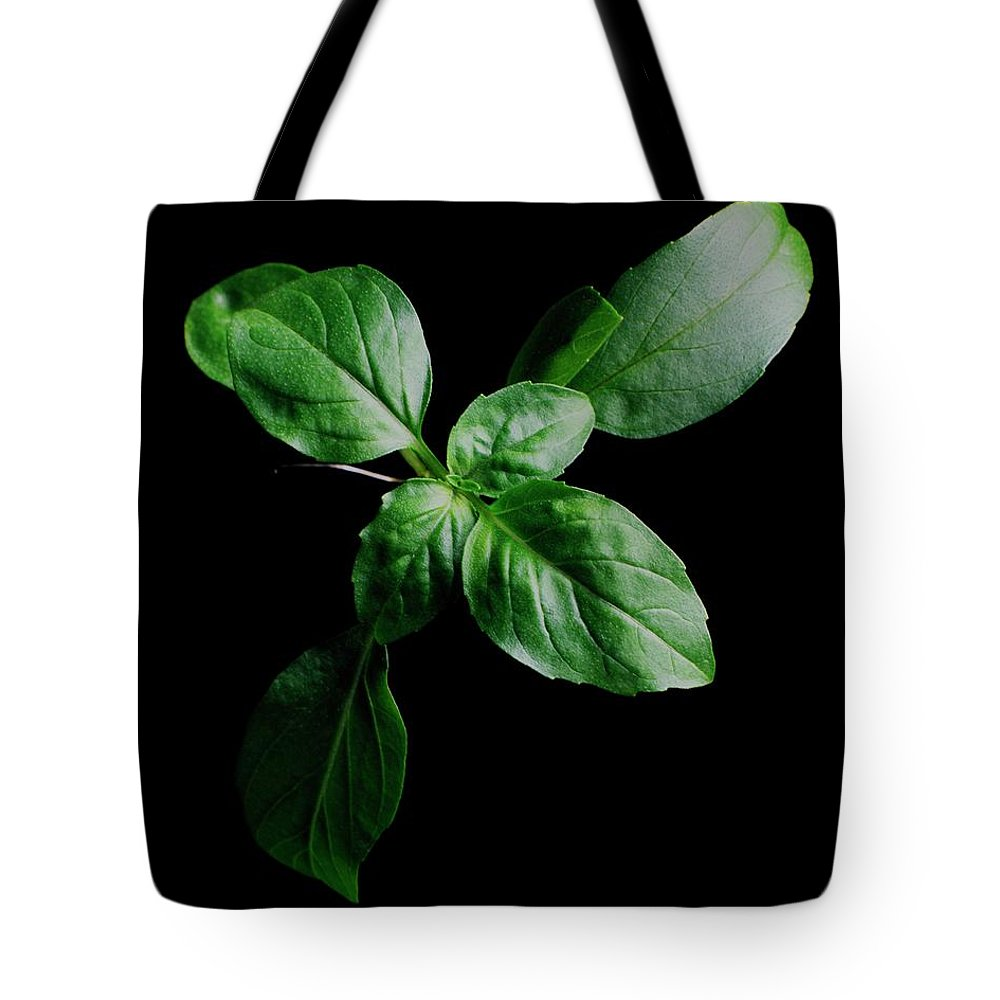 Herbs Tote Bag featuring the photograph A Sprig Of Basil by Romulo Yanes
