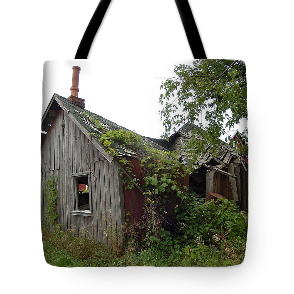 Old House Tote Bag featuring the photograph Abandoned Shed by Susan Wyman