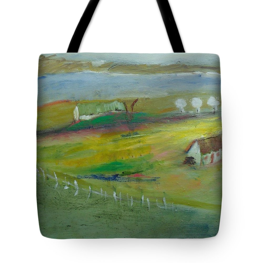 Seascape Tote Bag featuring the painting Above Narin Beach by Mary Feeney
