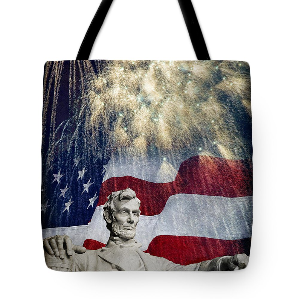 Lincoln Tote Bag featuring the photograph Abraham Lincoln Fireworks by Michael Shake