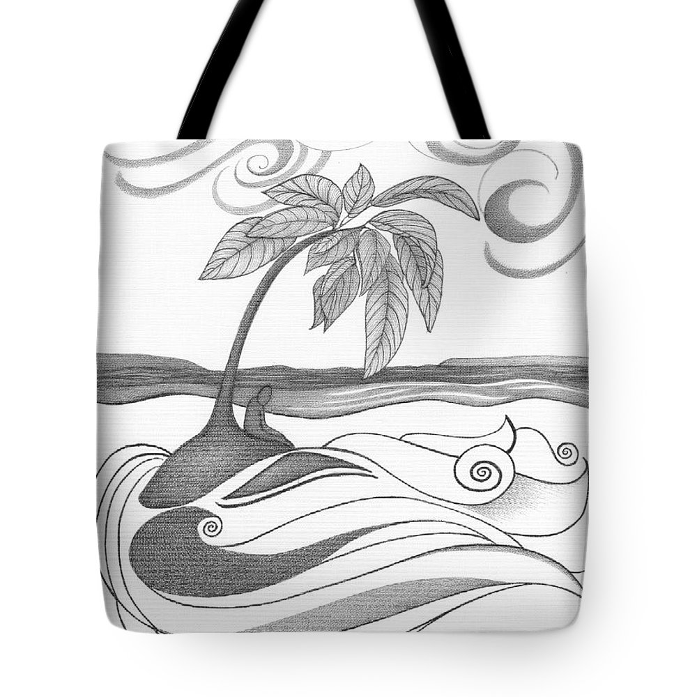 Tote bag drawing - Abstract Tote Bag Featuring The Painting Abstract Art Tropical Black And White Drawing Who Am I
