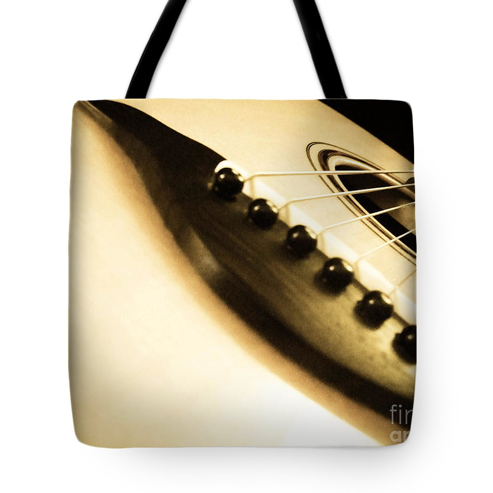 Guitar Tote Bag featuring the photograph Acoustic Guitar by Andrea Anderegg