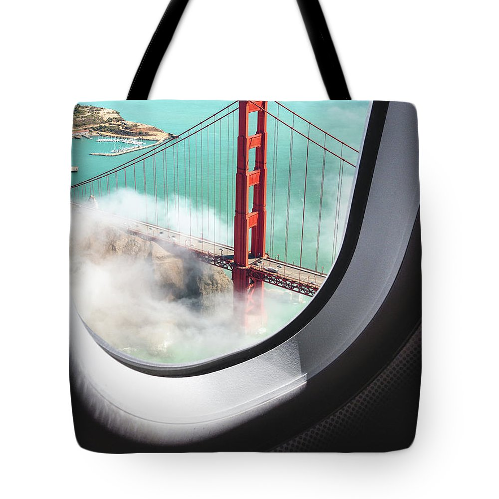Scenics Tote Bag featuring the photograph Aerial View Of San Francisco Golden by Franckreporter