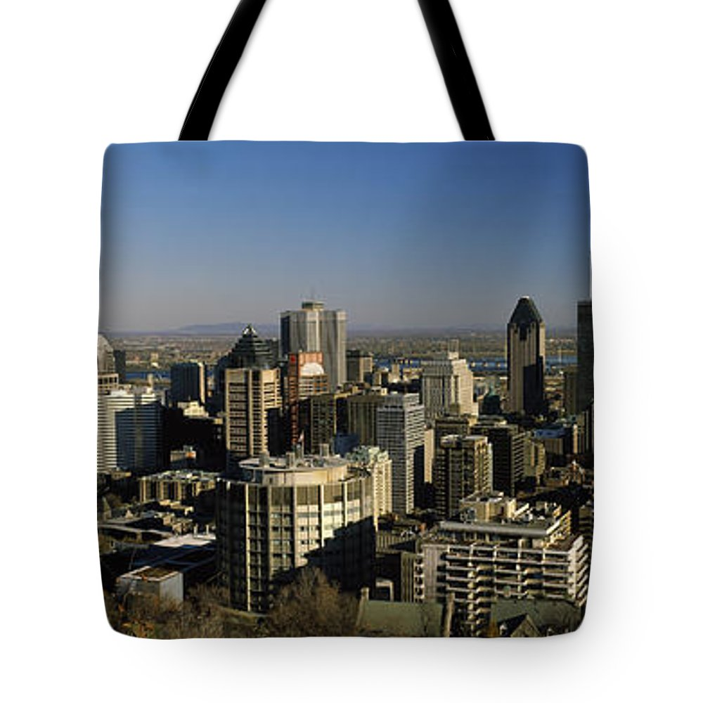 Photography Tote Bag featuring the photograph Aerial View Of Skyscrapers In A City by Panoramic Images