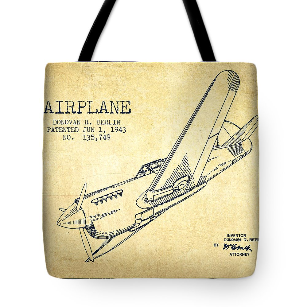 Airplane Tote Bag featuring the digital art Airplane Patent Drawing From 1943-vintage by Aged Pixel