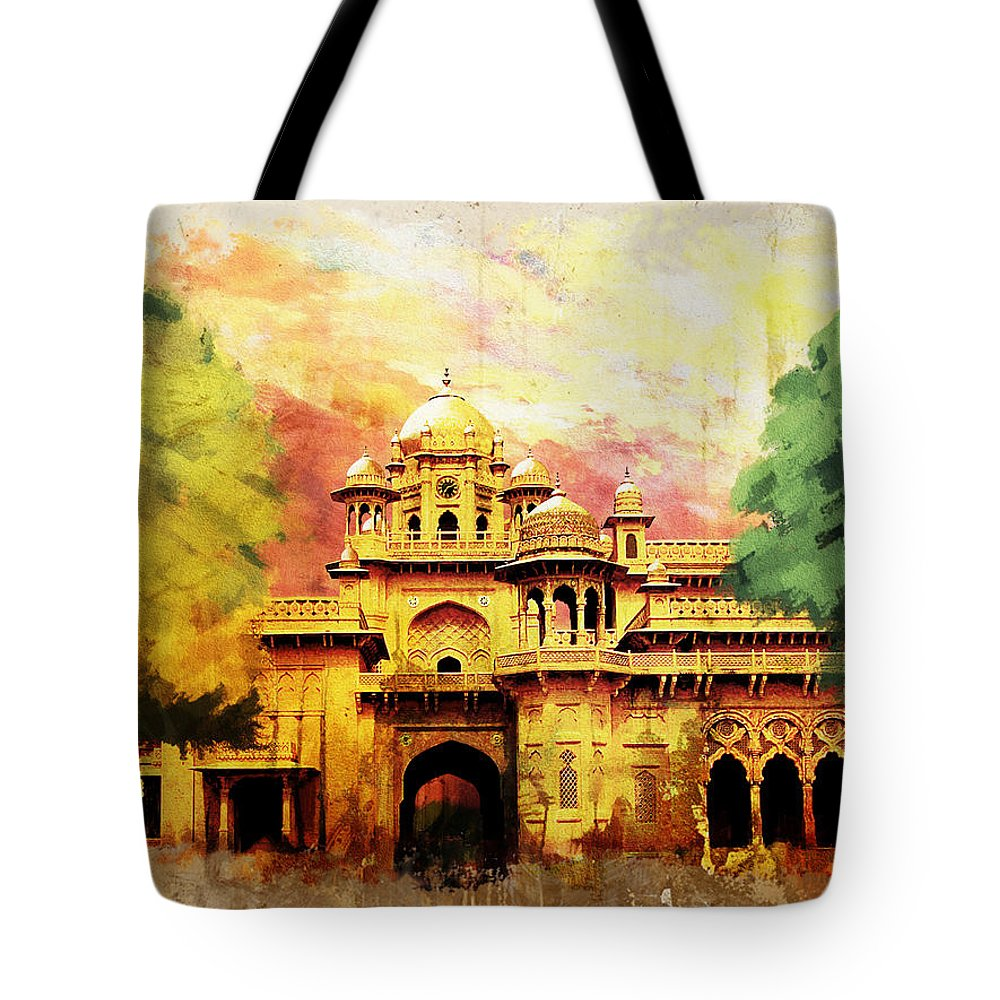 Pakistan Tote Bag featuring the painting Aitchison College by Catf