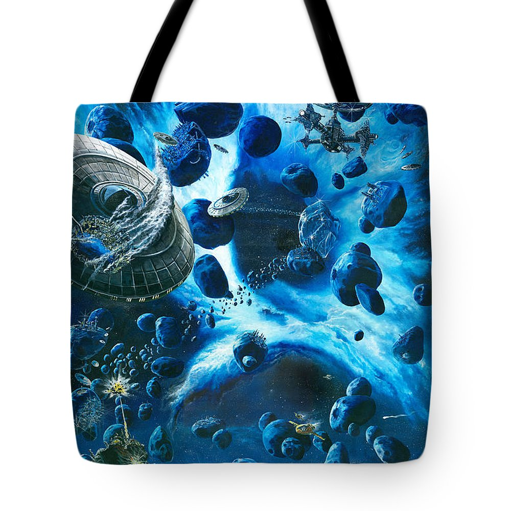 Asteroid Tote Bag featuring the painting Alien Pirates by Murphy Elliott