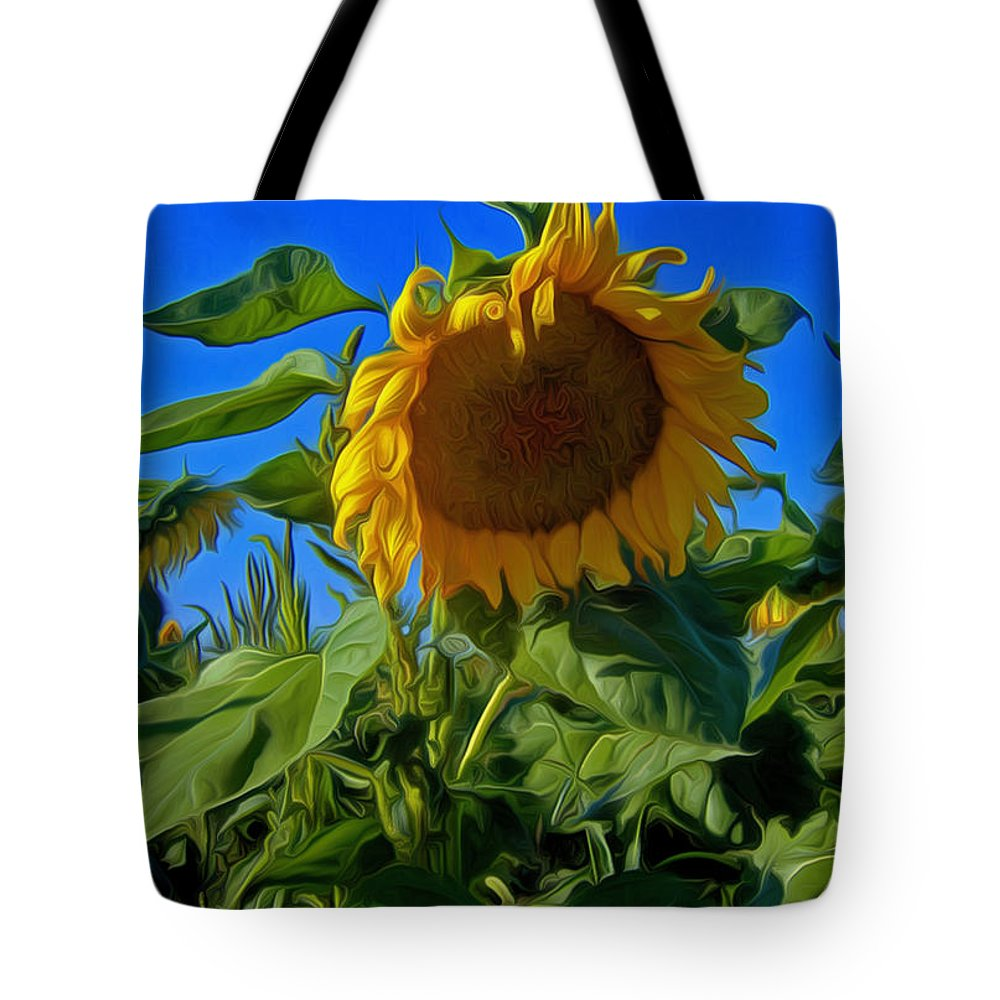 Sunflower Tote Bag featuring the photograph All By Myself by David Kehrli