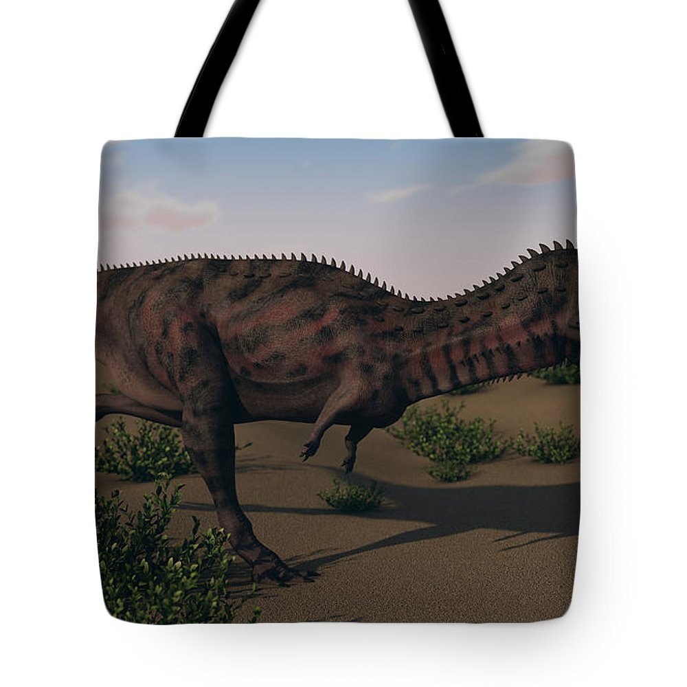 Horizontal Tote Bag featuring the photograph Alluring Majungasaurus In Swamp by Kostyantyn Ivanyshen