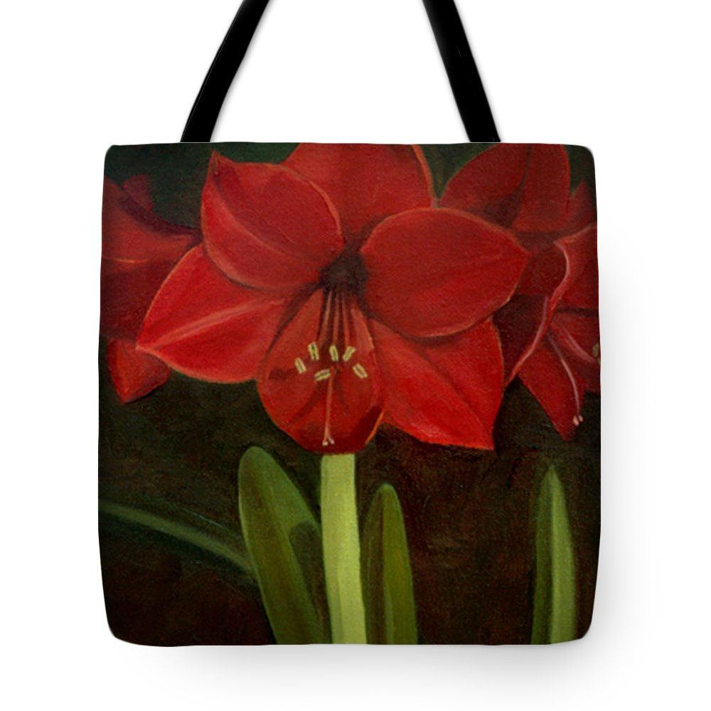 Amaryllis Tote Bag featuring the painting Amaryllis by Nancy Griswold
