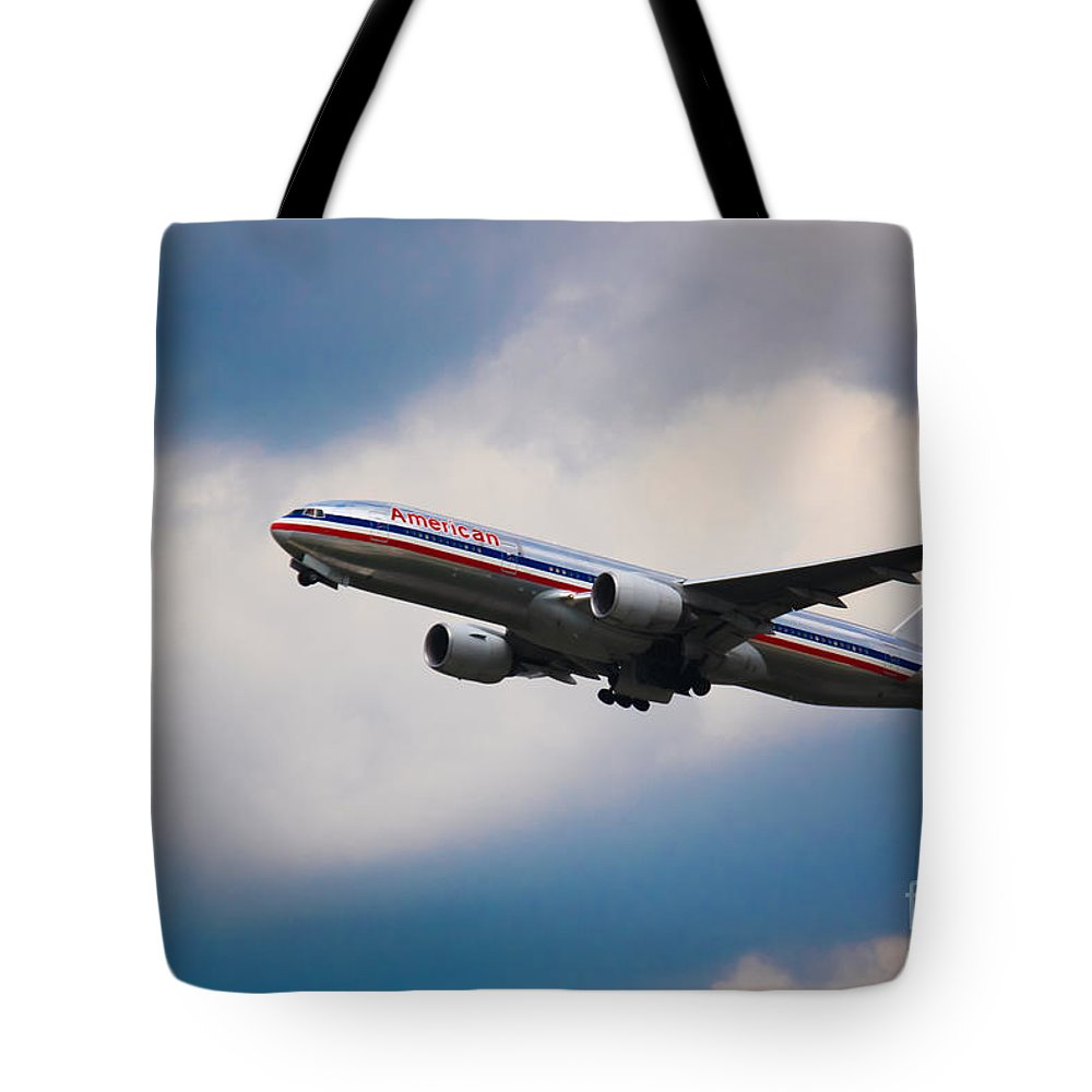 American Airlines Tote Bag featuring the photograph American Airlines Boeing 777 by Rene Triay Photography