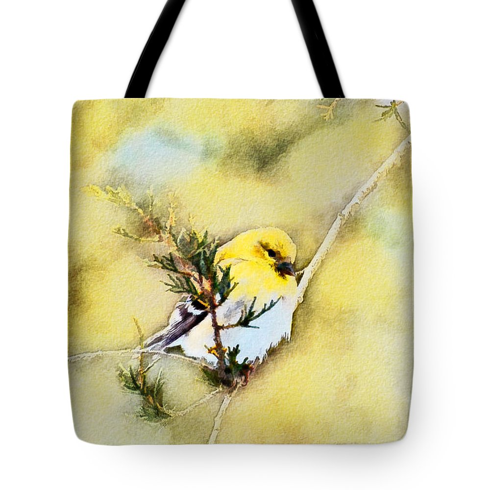 Branch Tote Bag featuring the photograph American Goldfinch - Digital Paint by Debbie Portwood