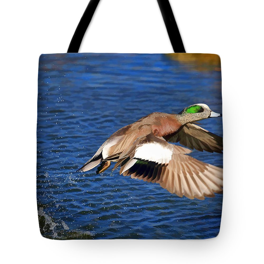 American Wigeon Tote Bag featuring the photograph American Wigeon by Donna Kennedy