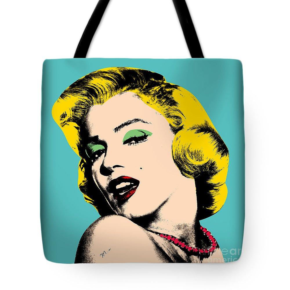 Pop Art Tote Bag featuring the digital art Andy Warhol by Mark Ashkenazi