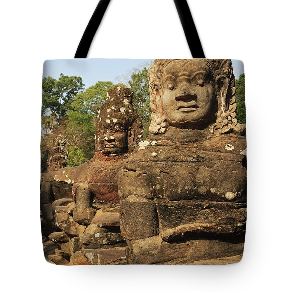 Historic Site Tote Bag featuring the photograph Angkor Thom South Gate by David Davis