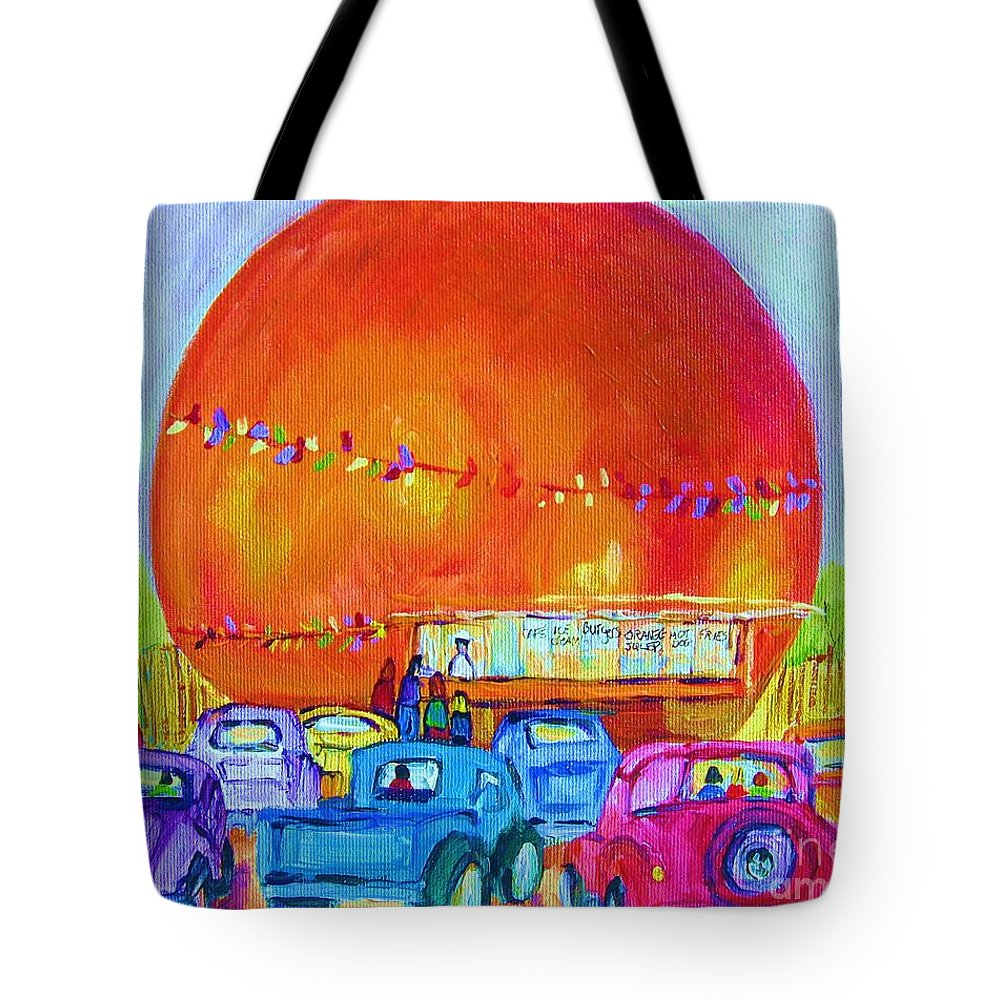 Cars Tote Bag featuring the painting Antique Cars At The Julep by Carole Spandau