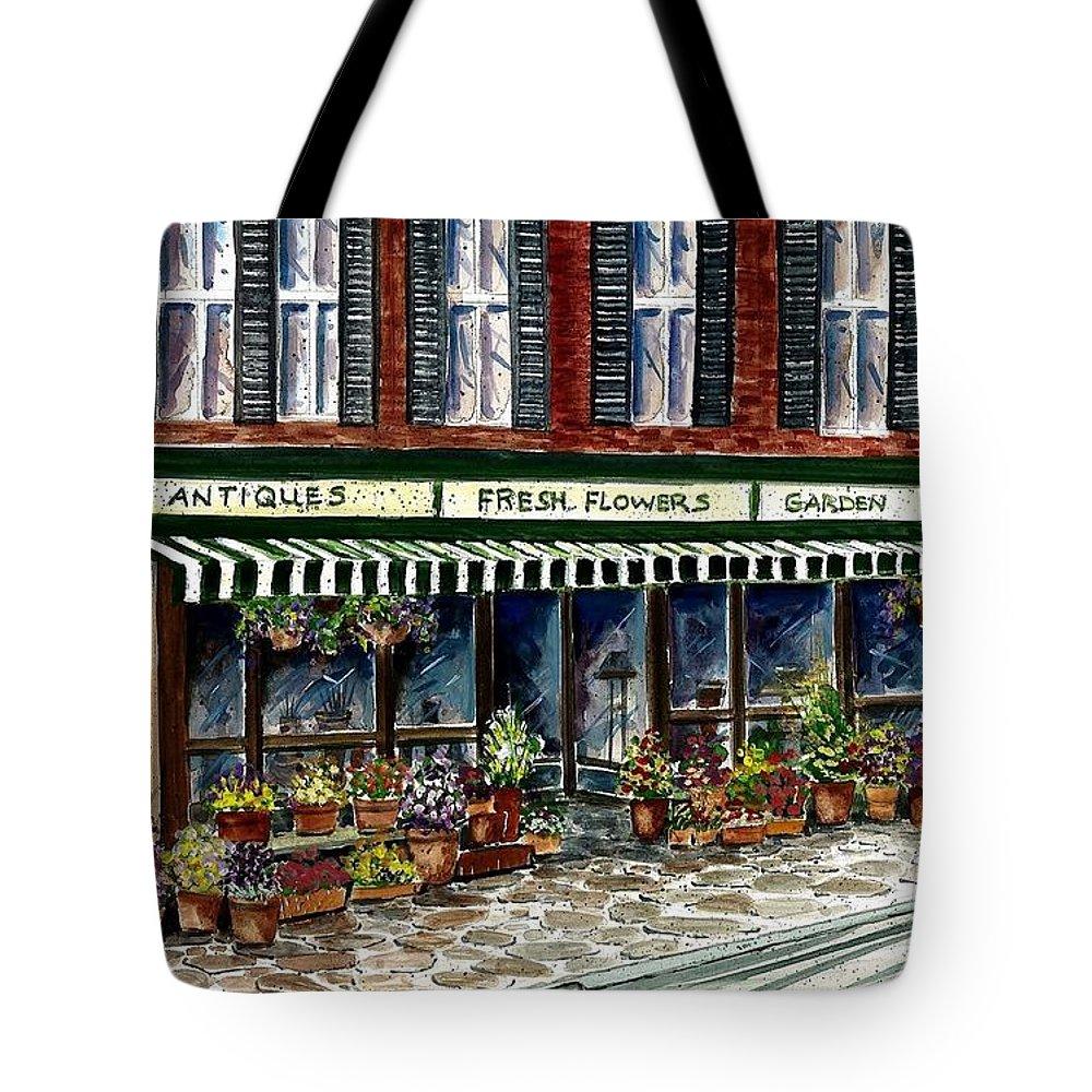 Landscape Tote Bag featuring the painting Antique Shop by Steven Schultz