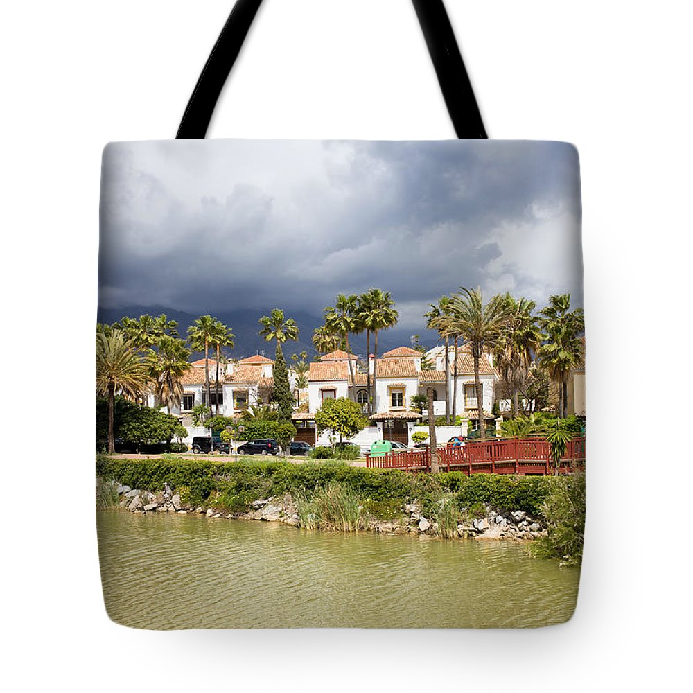 Condo Tote Bag featuring the photograph Apartment Houses In Marbella by Artur Bogacki