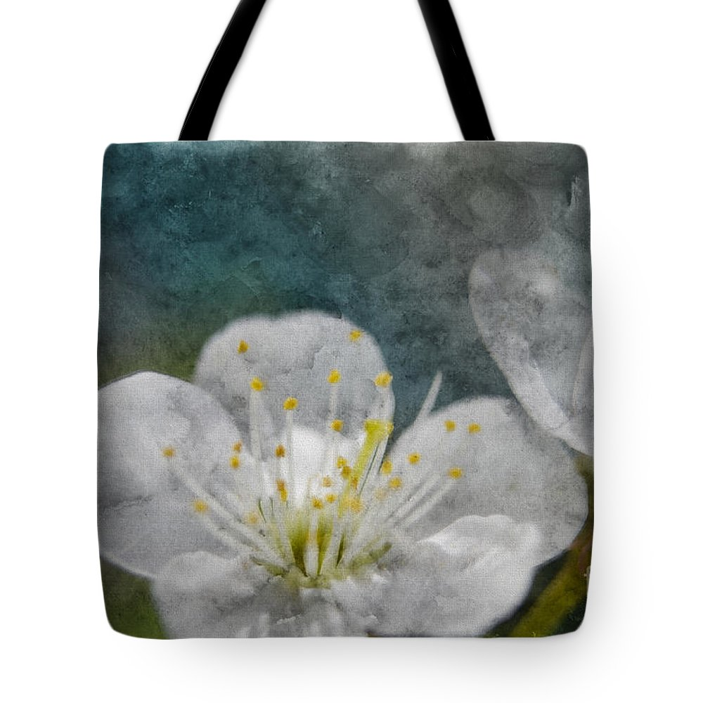 Nature Tote Bag featuring the photograph Apple Blossom Photoart Vi by Debbie Portwood