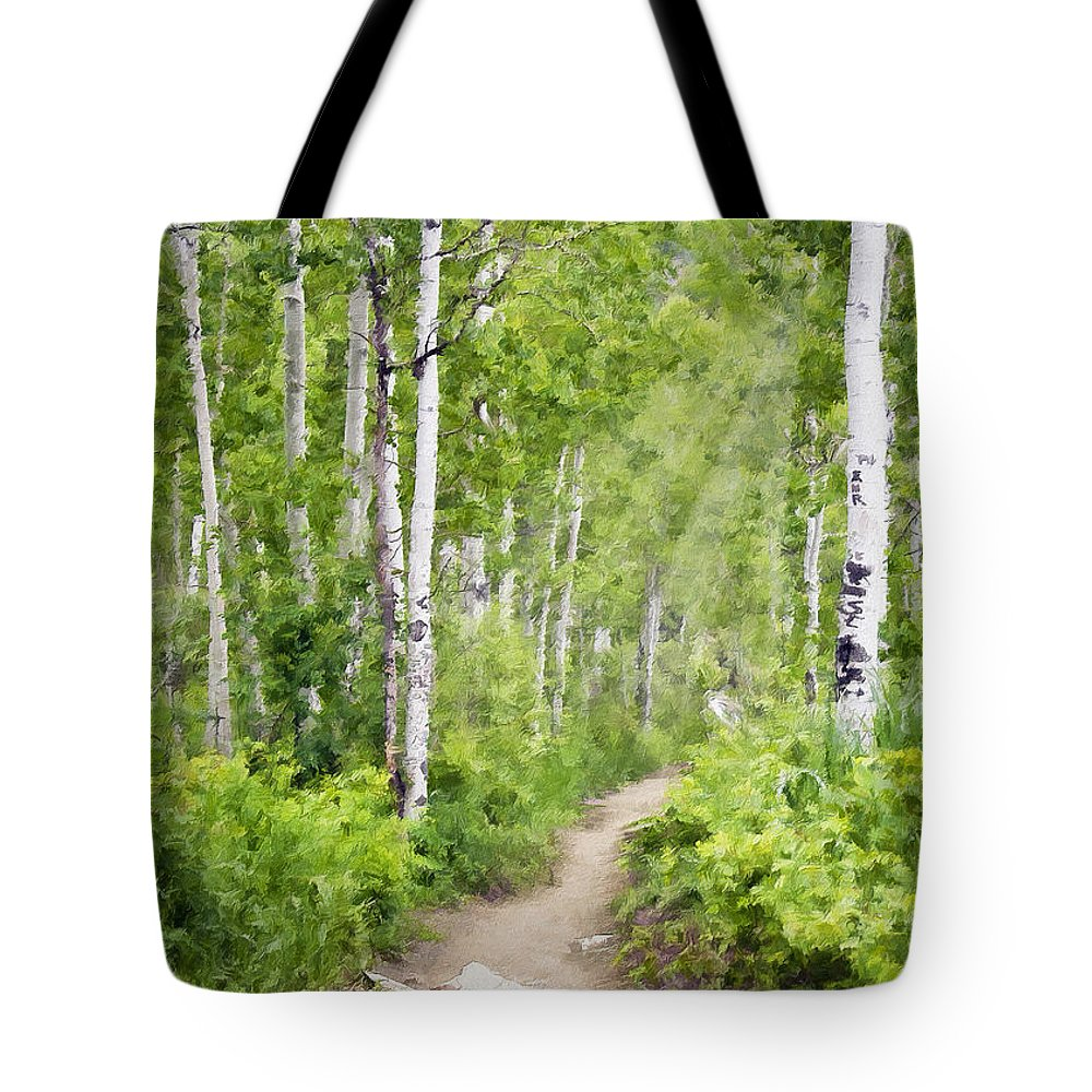 Aspen Tote Bag featuring the photograph Aspen Path Impasto by Sharon Foster