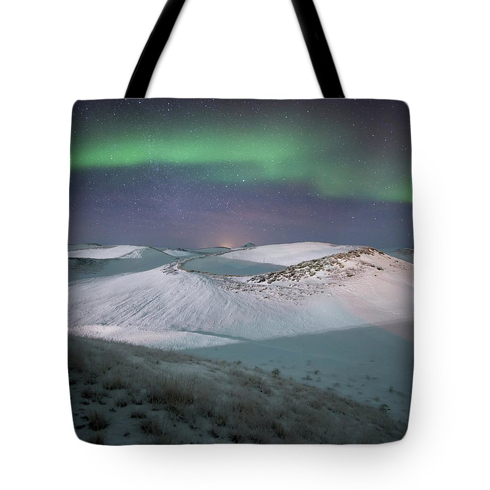 Scenics Tote Bag featuring the photograph Aurora, Myvatn, Iceland by David Clapp