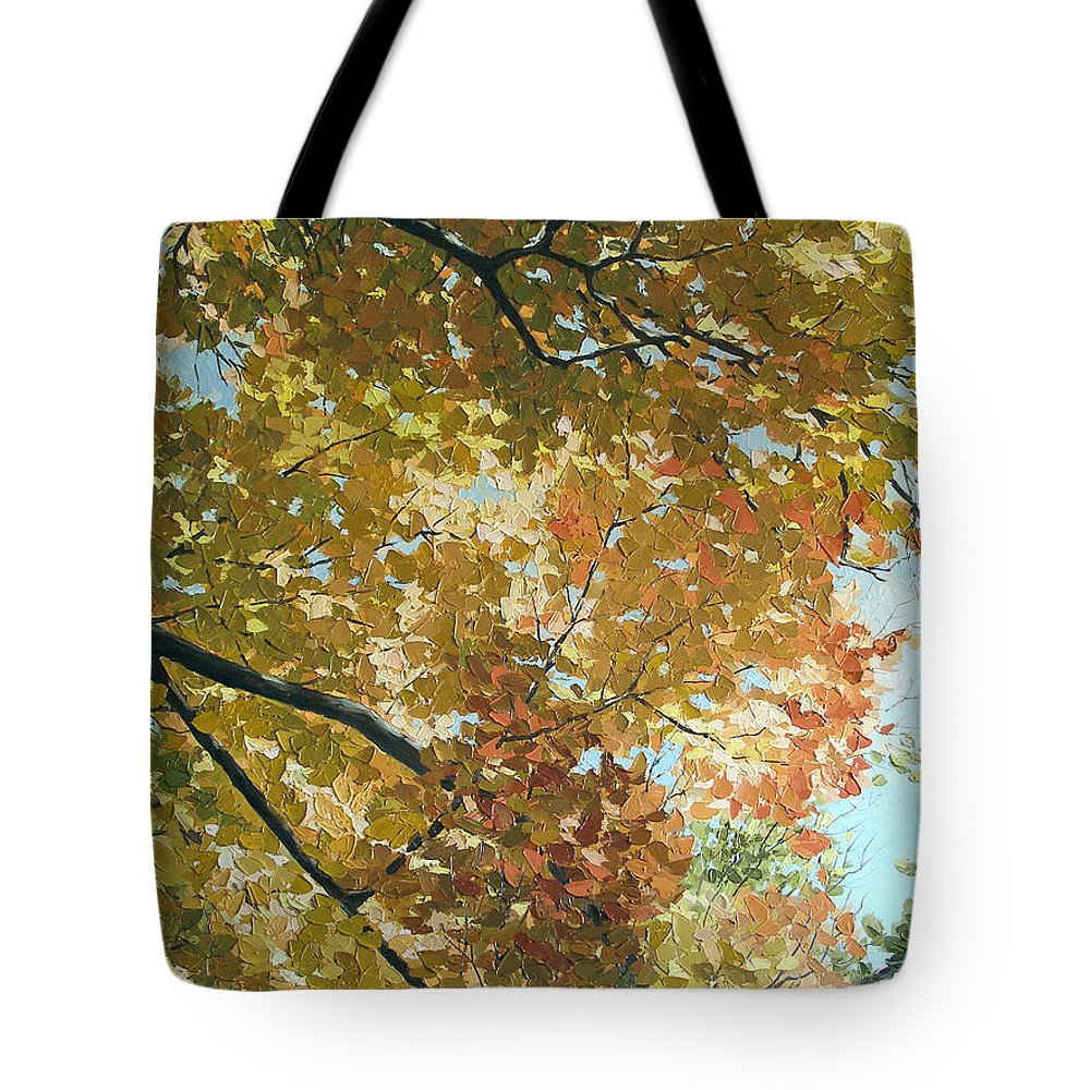 Landscape Tote Bag featuring the painting Autumn Branches by Olena Lopatina