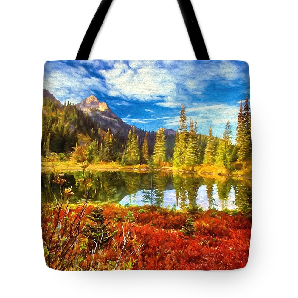 Evergreens Tote Bag featuring the mixed media Autumn Comes To The Lake And Mountains by Garland Johnson