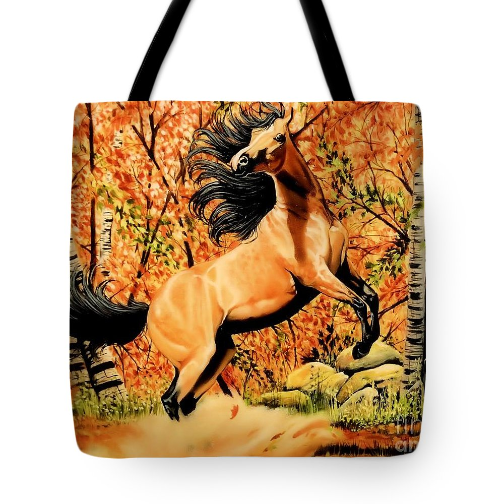 Horse Art Tote Bag featuring the painting Autumn Frolick by Cheryl Poland