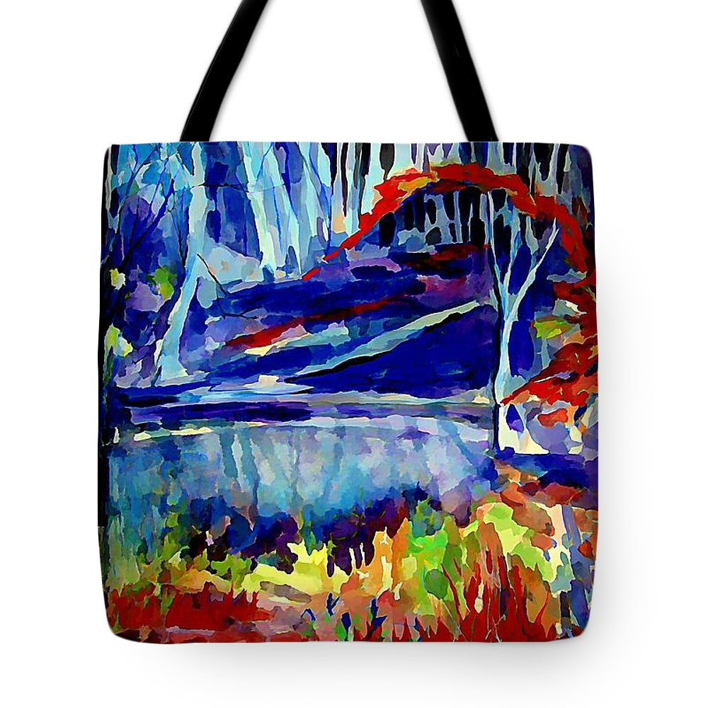 Landscape Tote Bag featuring the painting Autumn Glow by Mindy Newman
