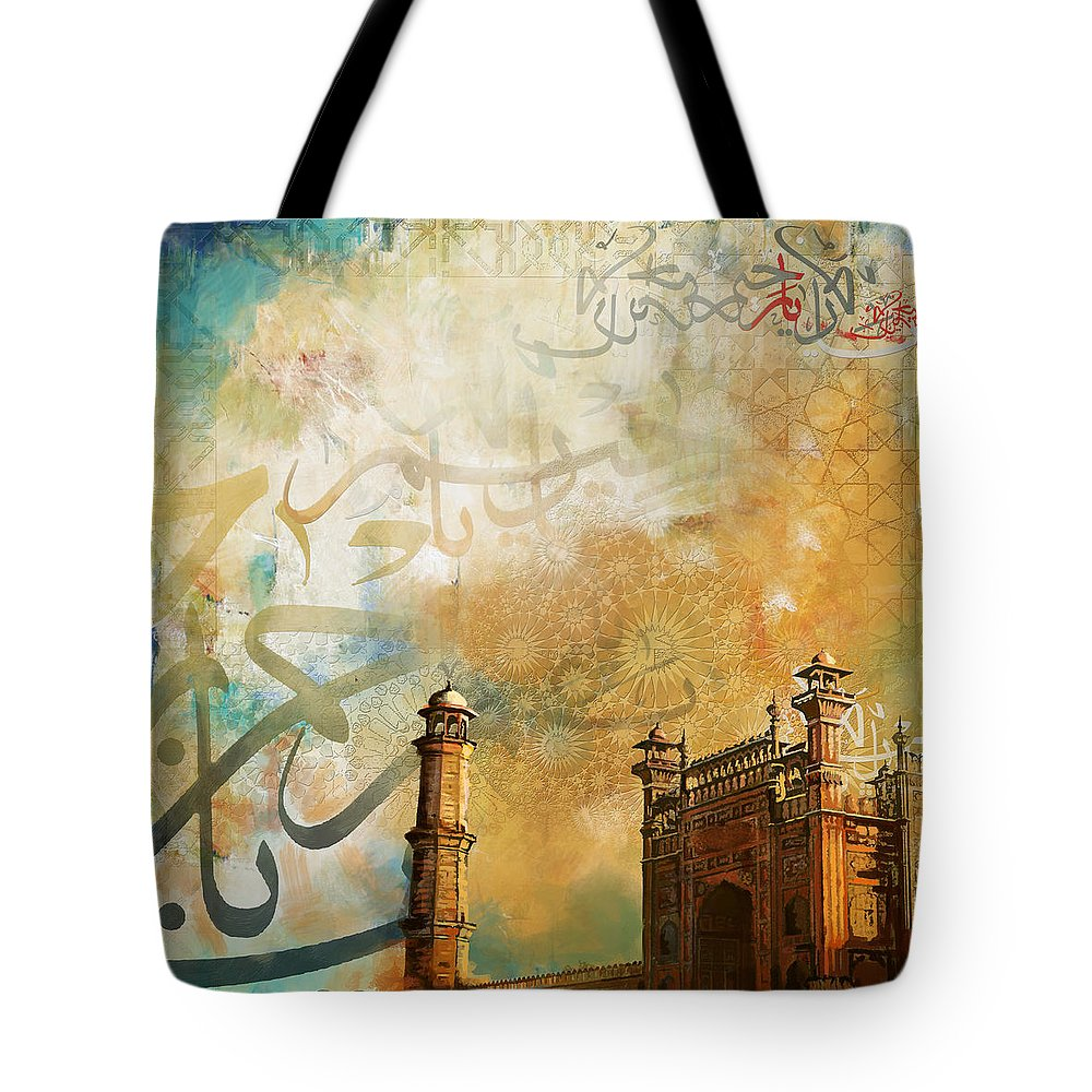 Pakistan Tote Bag featuring the painting Badshahi Mosque by Catf