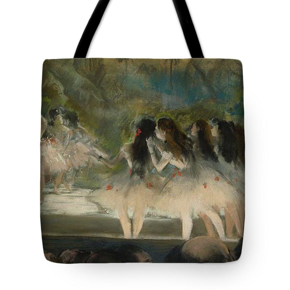 Edgar Degas Tote Bag featuring the painting Ballet At The Paris Opera by Edgar Degas