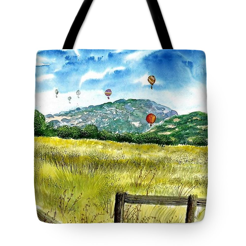 Landscape Tote Bag featuring the painting Balloon Race by Steven Schultz
