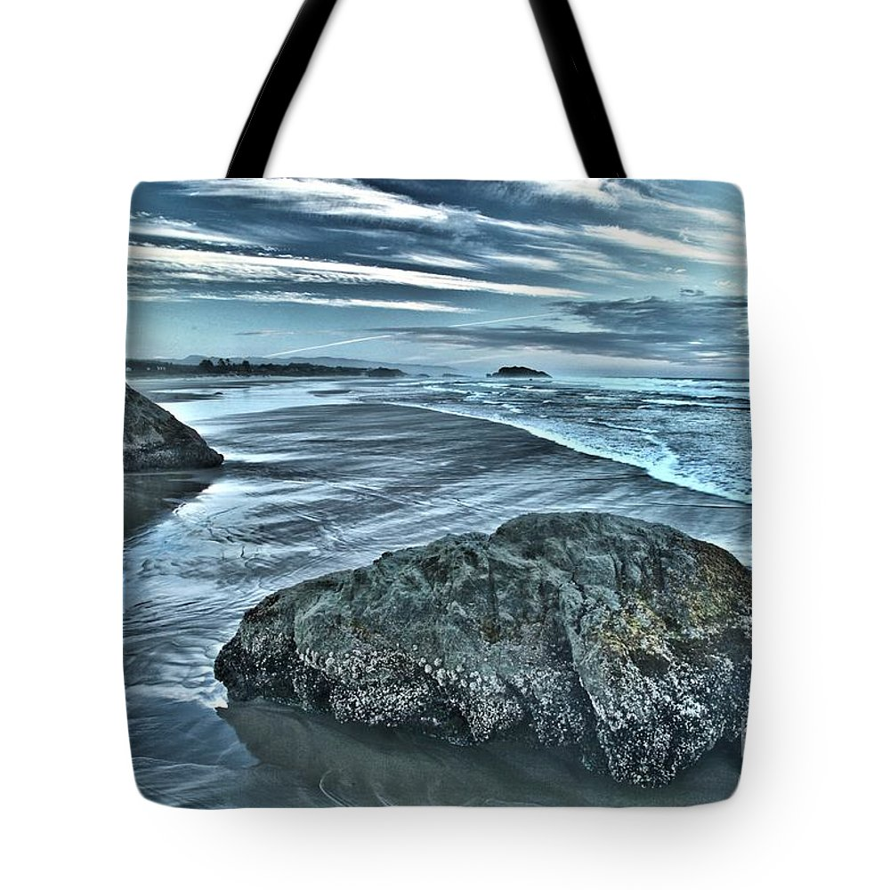 Bandon Beach Tote Bag featuring the photograph Bandon Beach Swirls by Adam Jewell