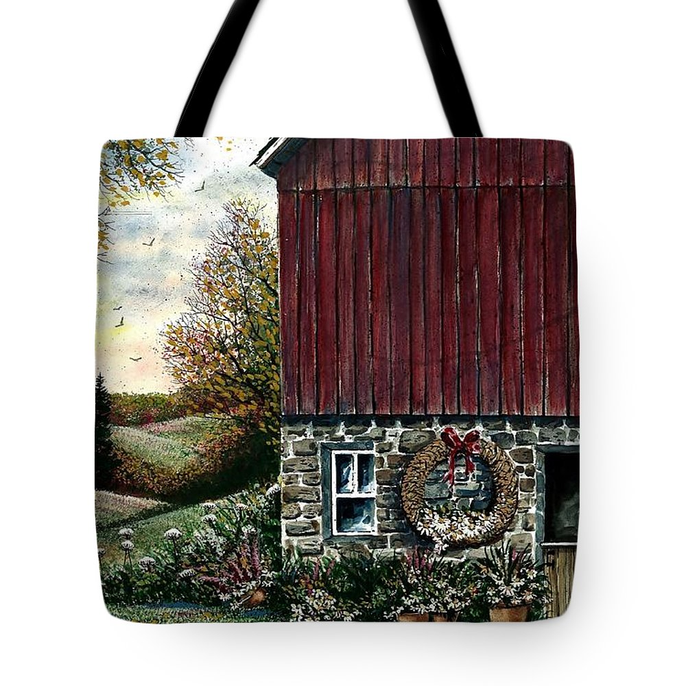 Landscape Tote Bag featuring the painting Barn Wreath by Steven Schultz