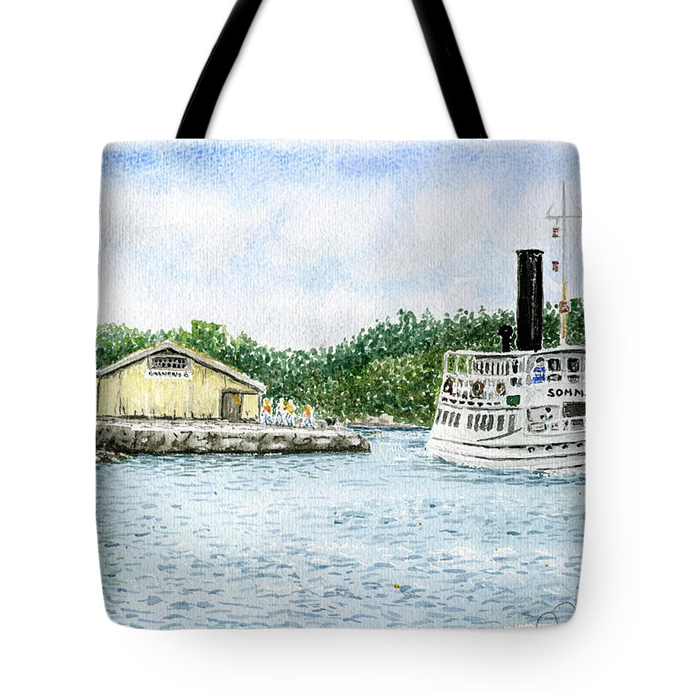 Watercolor Tote Bag featuring the painting Barnens O by Torbjorn Swenelius