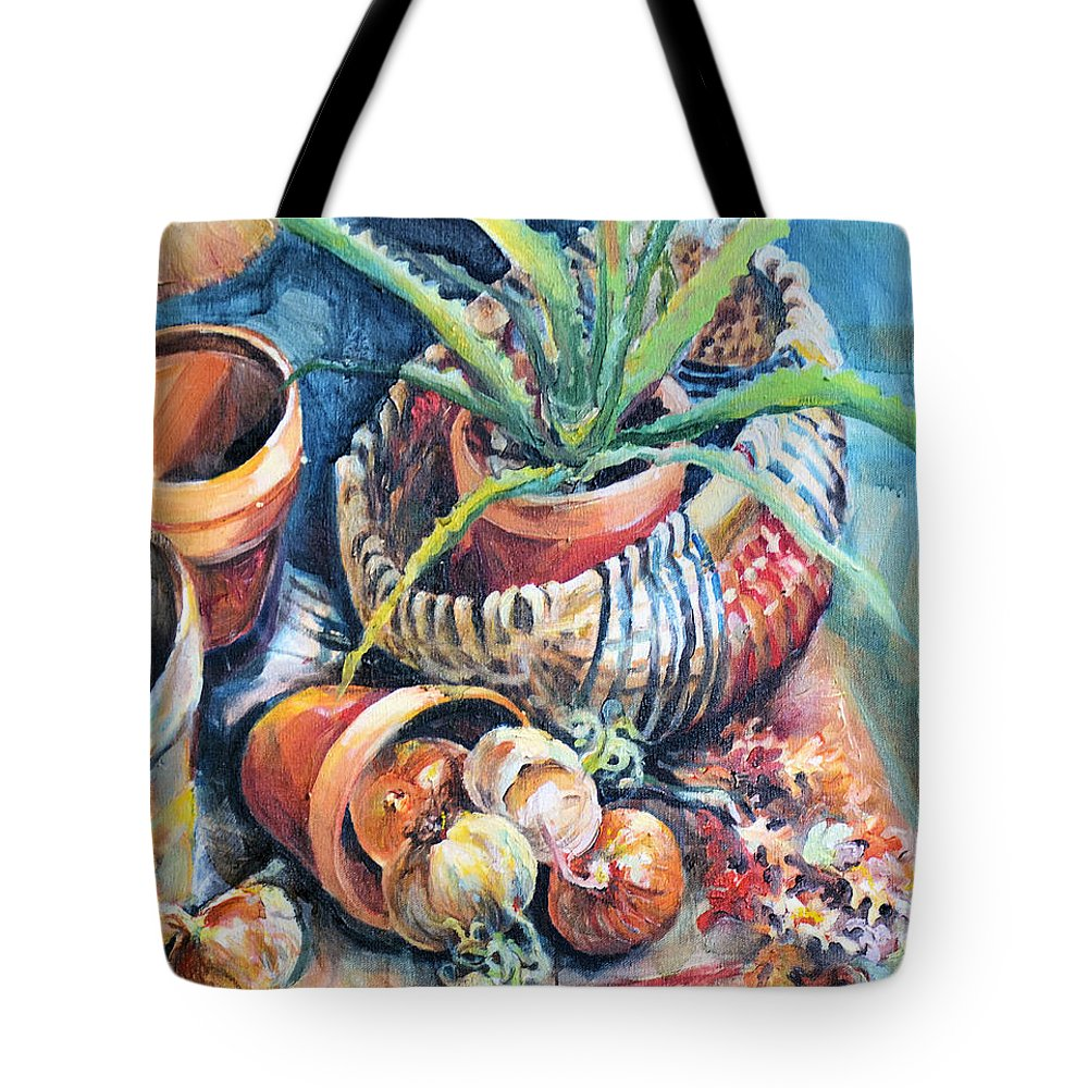Cactus Tote Bag featuring the painting Baskets by Linda Shackelford
