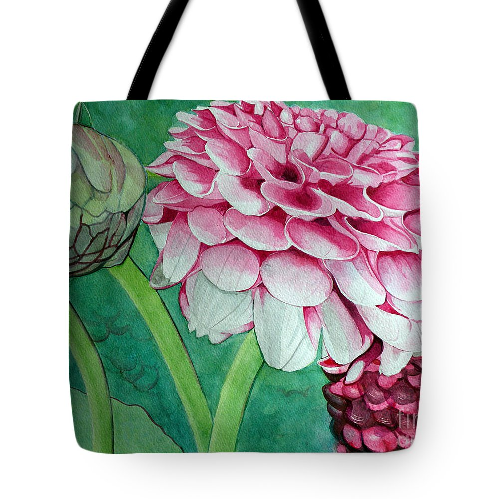 Floral Tote Bag featuring the painting Be Still And Know That I Am God by Christine Belt