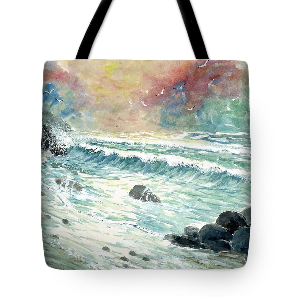 Beach Tote Bag featuring the painting Beach Tide by Steven Schultz