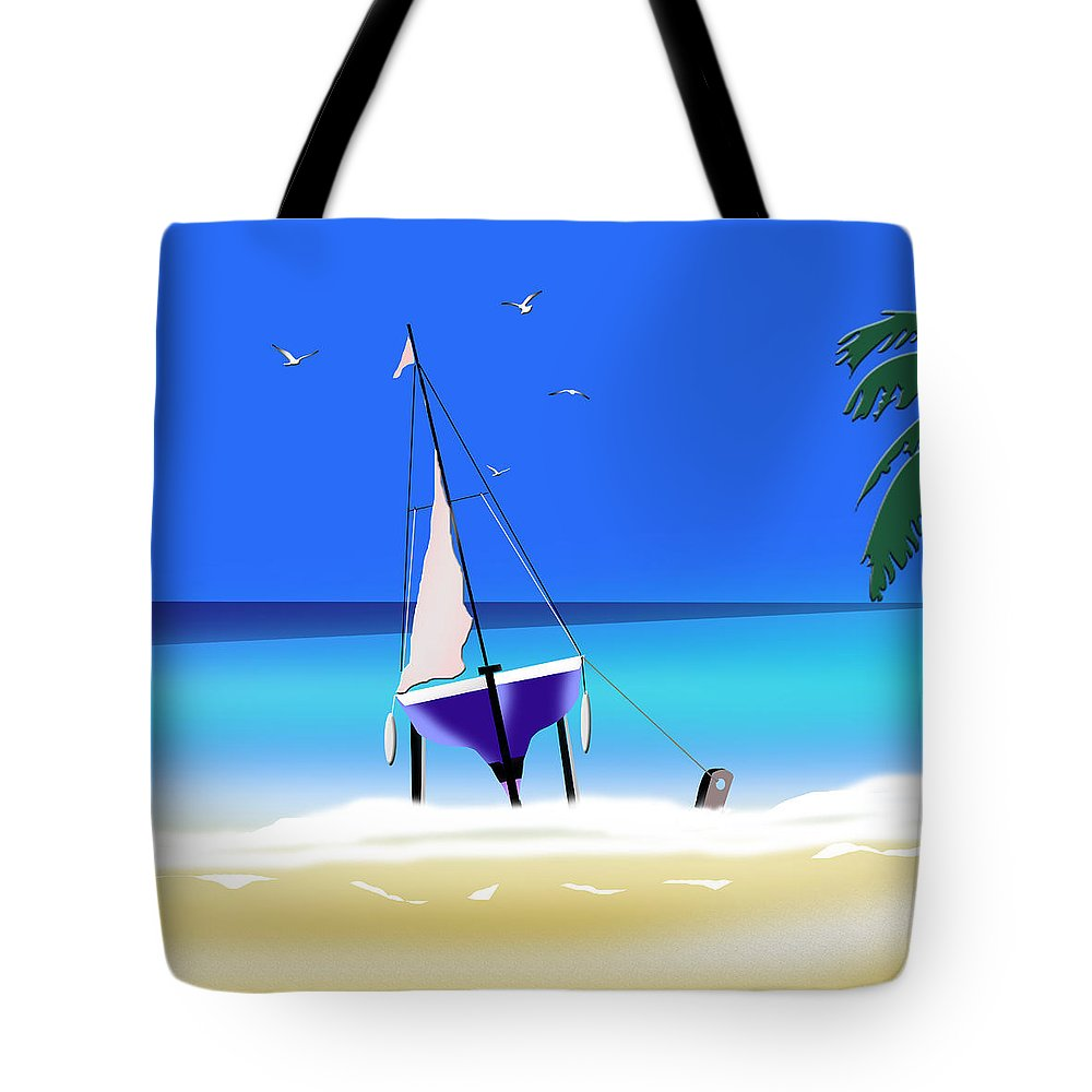 Sailboat Tote Bag featuring the digital art Beached by Peter Stevenson