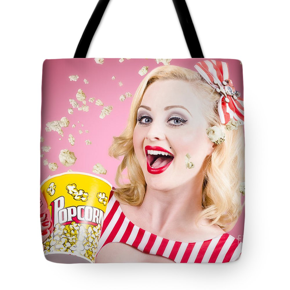 Movie Tote Bag featuring the photograph Beautiful Girl Watching Premier At Movie Theater by Jorgo Photography - Wall Art Gallery