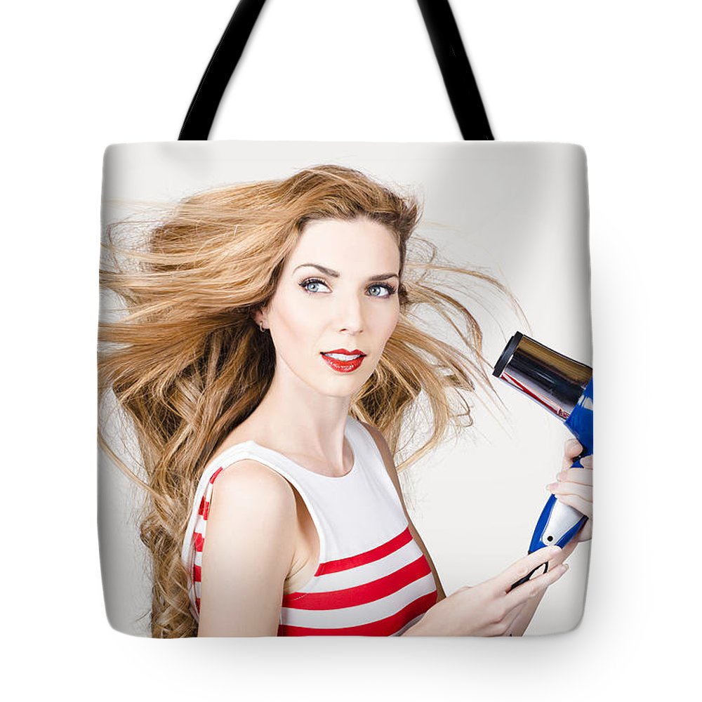 Hair Tote Bag featuring the photograph Beautiful Model Hair Styling Long Red Hairstyle by Jorgo Photography - Wall Art Gallery