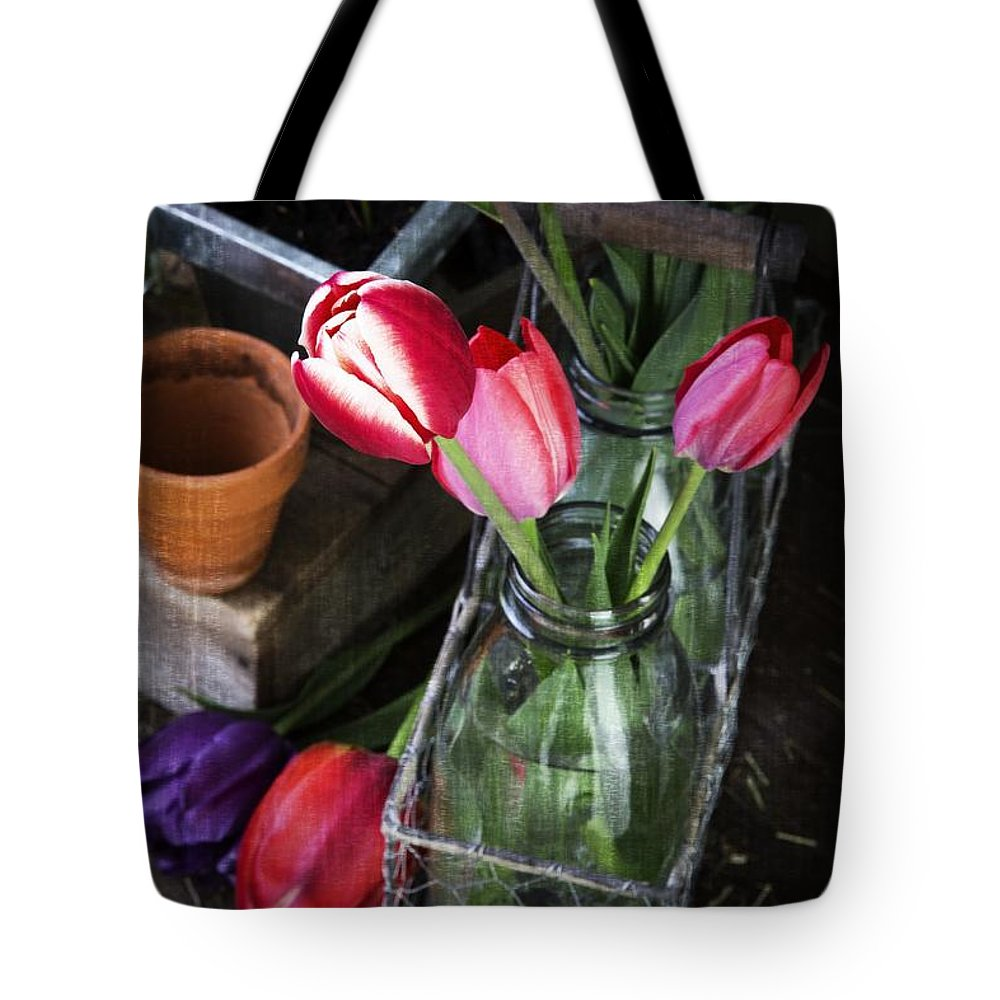 Barn Tote Bag featuring the photograph Beautiful Spring Tulips by Edward Fielding