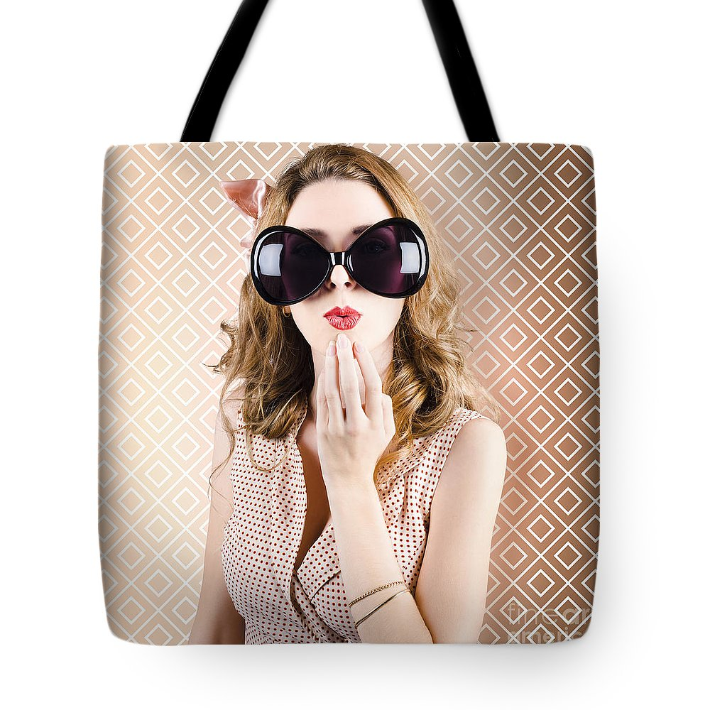 Sunglasses Tote Bag featuring the photograph Beautiful Surprised Girl Wearing Big Sunglasses by Jorgo Photography - Wall Art Gallery