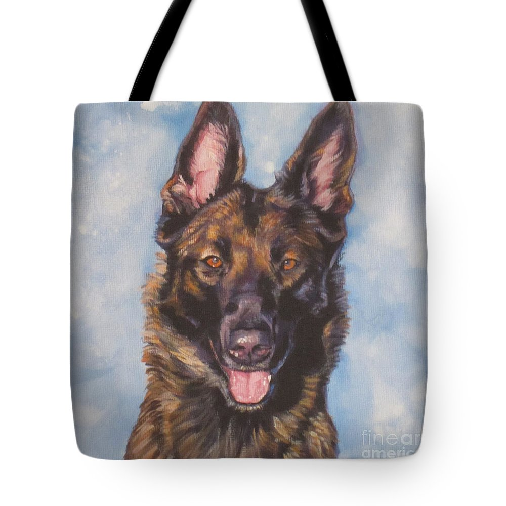 Belgian Malinois Tote Bag featuring the painting Belgian Malinois by Lee Ann Shepard