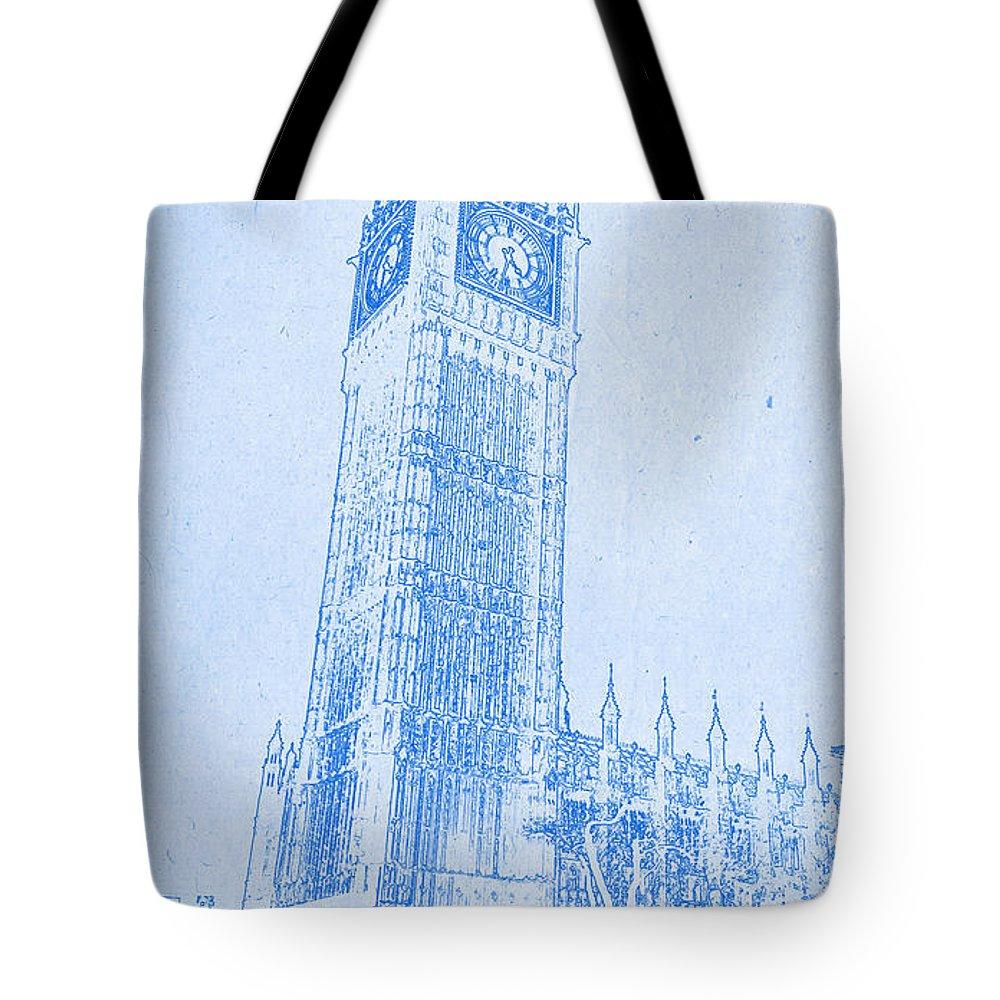 Big ben in london blueprint drawing tote bag for sale by motionage big ben in london blueprint drawing tote bag featuring the digital art big ben in malvernweather Choice Image